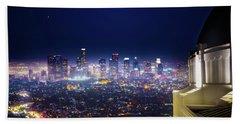 Los Angeles By Night Beach Towel