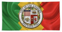 Beach Towel featuring the digital art Los Angeles City Seal Over Flag Of L.a. by Serge Averbukh