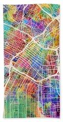 Los Angeles City Street Map Beach Towel by Michael Tompsett