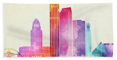 Los Angeles Landmarks Watercolor Poster Beach Sheet by Pablo Romero