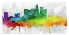 Los Angeles Skyline Mmr-uscala05 Beach Sheet by Aged Pixel