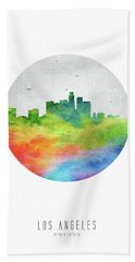 Los Angeles Skyline Uscala20 Beach Sheet by Aged Pixel
