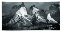 Beach Towel featuring the photograph Los Cuernos In Black And White by Andrew Matwijec