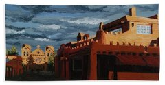 Beach Towel featuring the painting Los Farolitos,the Lanterns, Santa Fe, Nm by Erin Fickert-Rowland