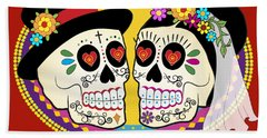 Los Novios Sugar Skulls Beach Towel
