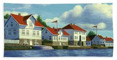 Beach Towel featuring the painting Loshavn Village Norway by Janet King