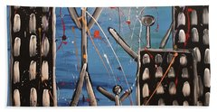 Beach Sheet featuring the painting Lost Cities 13-003 by Mario Perron