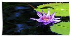 Lotus And Dark Water Refection Beach Sheet