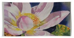 Beach Towel featuring the painting Lotus Bloom by Mary Haley-Rocks
