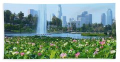Lotus Blooms And Los Angeles Skyline Beach Towel