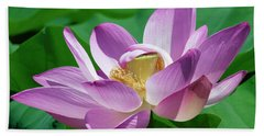 Beach Towel featuring the photograph Lotus--center Of Being--protective Covering II Dl0088 by Gerry Gantt