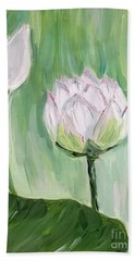 Beach Towel featuring the painting Lotus Emerging by Maria Langgle