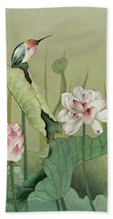 Lotus Flower And Hummingbird Beach Towel