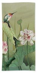 Lotus Flower And Hummingbird Beach Sheet