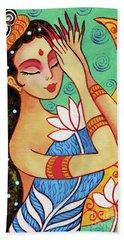 Lotus Meditation Beach Sheet