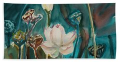 Beach Towel featuring the painting Lotus Study I by Xueling Zou