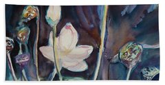 Beach Towel featuring the painting Lotus Study II by Xueling Zou