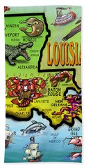 Louisiana Cartoon Map Beach Towel