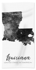 Louisiana State Map Art - Grunge Silhouette Beach Towel