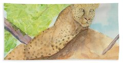Beach Towel featuring the painting Lounging Leopard by Vicki  Housel