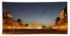 Beach Towel featuring the photograph Louvre At Night 2 by Andrew Fare