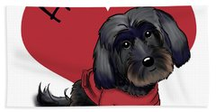 Beach Towel featuring the mixed media Lovable Black Havanese by Catia Lee