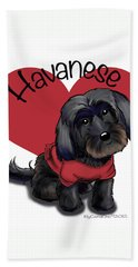 Lovable Black Havanese Beach Towel