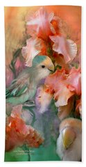 Love Among The Irises Beach Towel by Carol Cavalaris