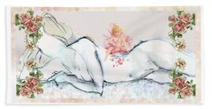 Beach Sheet featuring the mixed media Love And Friendship - Valentine Card by Carolyn Weltman