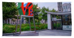 Beach Towel featuring the photograph Love At Dilworth Plaza - Philadelphia by Bill Cannon
