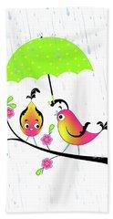 Love Birds In Rain Beach Towel