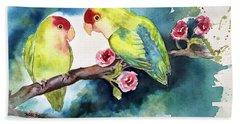 Love Birds On Branch Beach Towel
