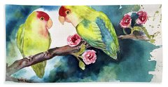 Love Birds On Branch Beach Sheet