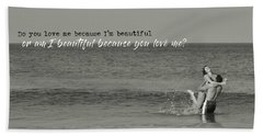 Love Birds Quote Beach Towel