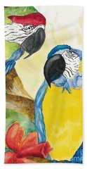 Beach Towel featuring the painting Love Birds by Vicki  Housel