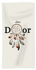 Beach Towel featuring the painting Love Dior Watercolour Dreamcatcher by Georgeta Blanaru
