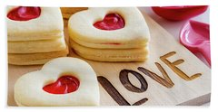 Beach Towel featuring the photograph Love Heart Cookies by Teri Virbickis