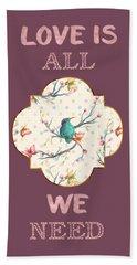 Beach Sheet featuring the digital art Love Is All We Need Typography Hummingbird And Butterflies by Georgeta Blanaru