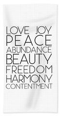 Love Joy Peace Beauty Virtues Beach Towel
