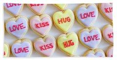 Beach Towel featuring the photograph Love Kiss Hug Heart Cookies by Teri Virbickis