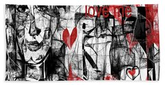 Beach Towel featuring the digital art Love Me  by Sladjana Lazarevic