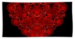 Love Red Floral Heart Beach Towel