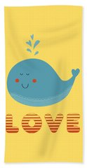 Love Whale Cute Animals Beach Towel