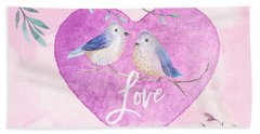 Lovebirds For Valentine's Day, Or Any Day Beach Sheet
