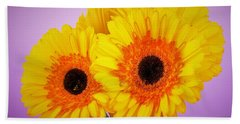 Lovely And Beautiful - Gerbera Daisies Beach Towel by Ray Shrewsberry