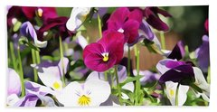Lovely Pansies  Beach Sheet