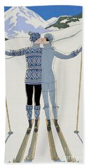 Lovers In The Snow Beach Sheet by Georges Barbier