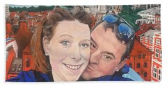 Lovers Selfie In York, England Beach Towel