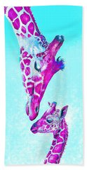 Loving Giraffes- Magenta Beach Towel by Jane Schnetlage