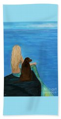 Beach Towel featuring the painting Loving Lab Loyalty by Leslie Allen